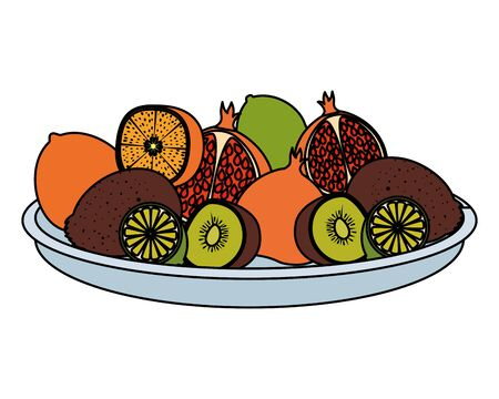 dish with group of tropical and fresh fruits vector illustration design Ilustração