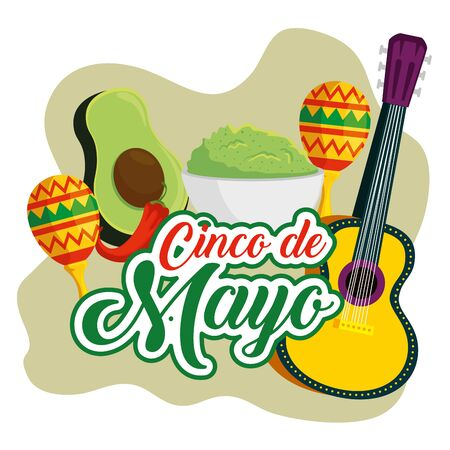 mexican guitar with maracas and avocado sauce vector illustration