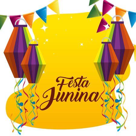 party banner with lanterns to celebrate festa junina vector illustration