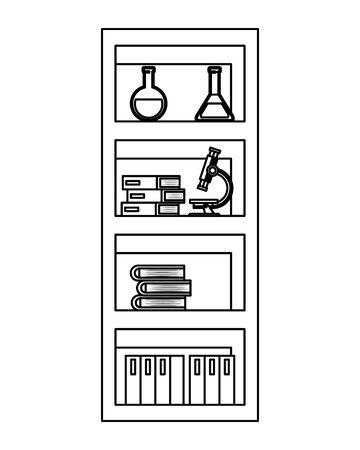 school shelving wooden with supplies vector illustration design