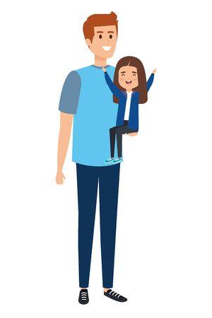 happy student girl with male teacher vector illustration design Illustration