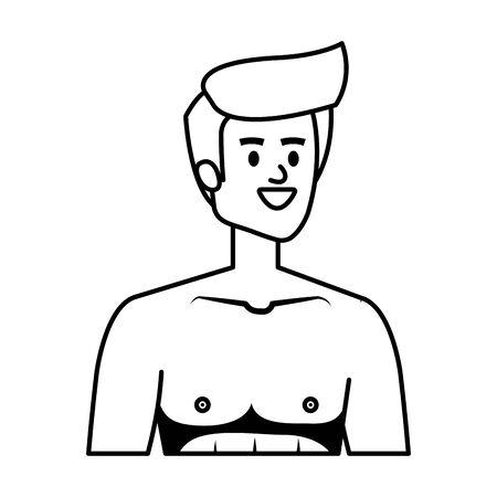 young man shirtless avatar character vector illustration design Stock Vector - 130580838