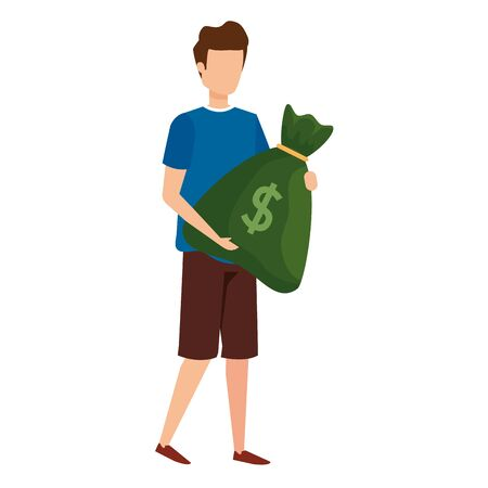 young man lifting money bag vector illustration design Illustration