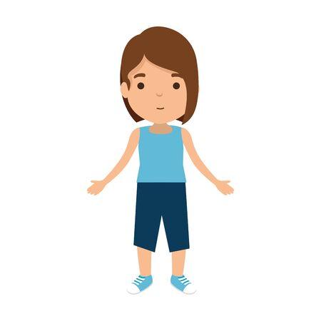 cute little girl character vector illustration design Banco de Imagens - 127741621