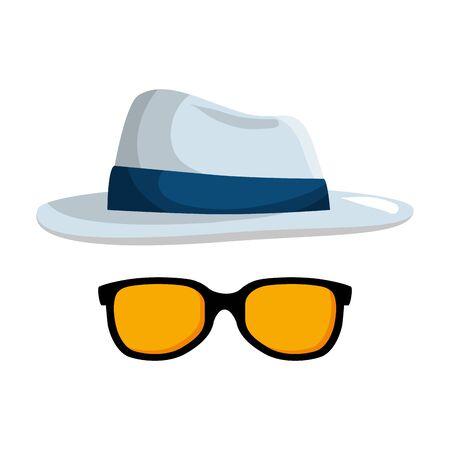 summer sunglasses with elegant hat vector illustration design Illustration