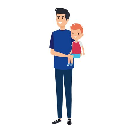 young father with son characters vector illustration design Standard-Bild - 127752124