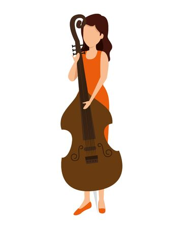 woman playing cello character vector illustration design
