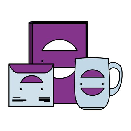 compact disk , mug and book with company emblem vector illustration design