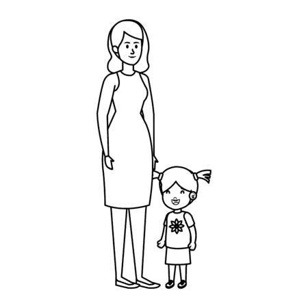 young mother with little daughter vector illustration design Standard-Bild - 127768835