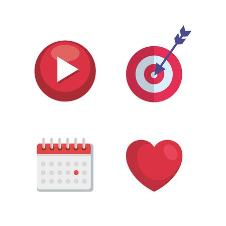 set of digital media with video and target with arrow and calendar vector illustration