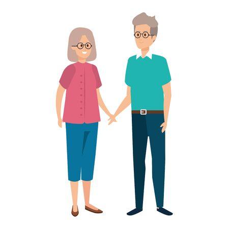 cute grand parents couple characters vector illustration design Illustration