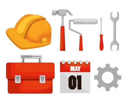 set construction tools and calendar to labor day vector illustration