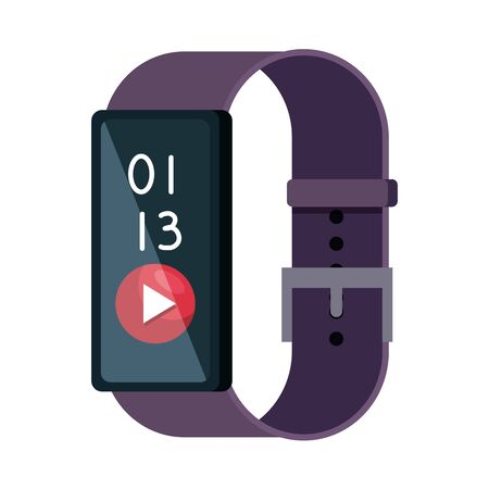 smartwatch with media player button vector illustration design