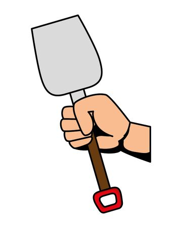hand with shovel metal tool vector illustration design