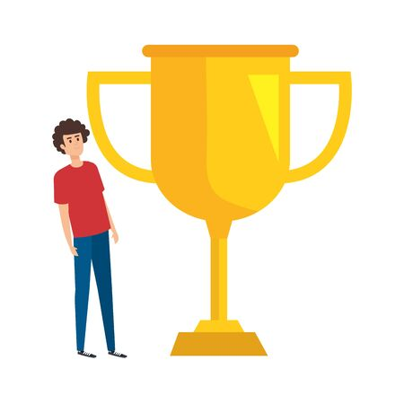 young man lifting trophy cup award vector illustration design 일러스트