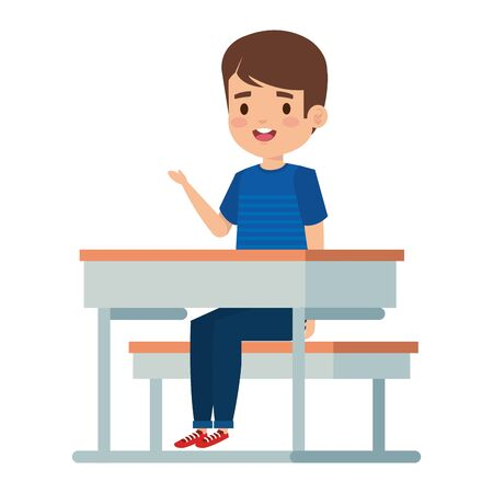 happy little student boy seated in school desk vector illustration design Foto de archivo - 127835766