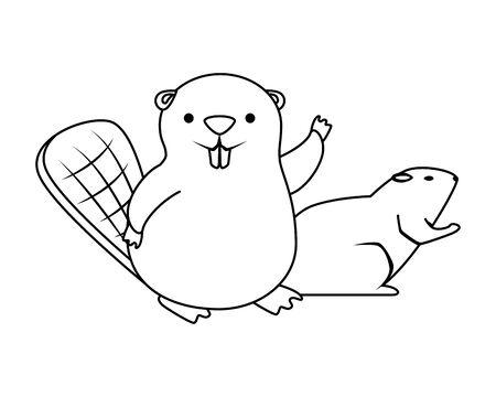 carino castoro e lontra mascotte illustrazione vettoriale design Vettoriali
