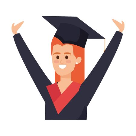 young woman student graduated celebrating vector illustration design  イラスト・ベクター素材