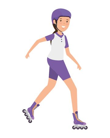 happy athletic girl in skates vector illustration design