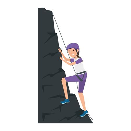 woman climbing with rope character vector illustration design 写真素材 - 127850999
