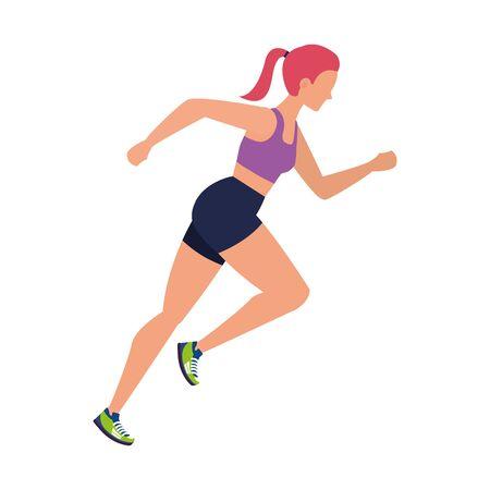 young athletic woman running character vector illustration design Vektorgrafik