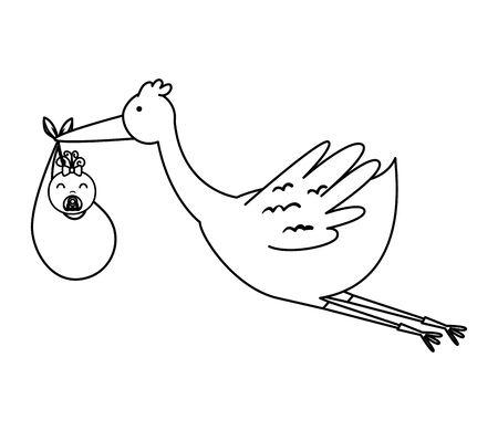 stork flying with little boy baby character vector illustration design Standard-Bild - 127851071