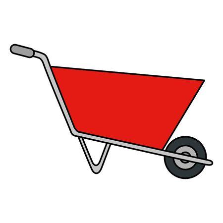 carriola strumento di costruzione icona isolato illustrazione vettoriale design Vettoriali