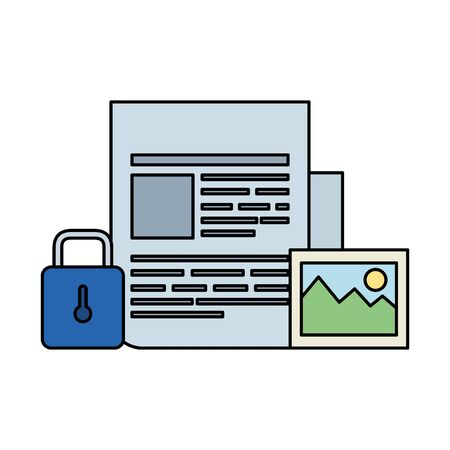 paper document with padlock and picture vector illustration design