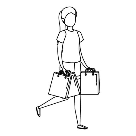 young woman lifting shopping bags character vector illustration design Illustration