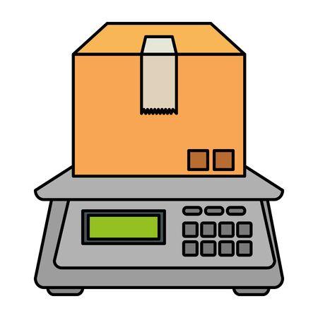 imballaggio in cartone con disegno di illustrazione vettoriale di equilibrio digitale