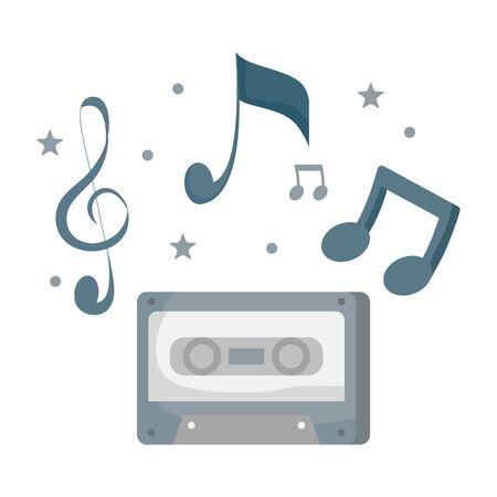 audio cassette record with music notes vector illustration design Ilustração