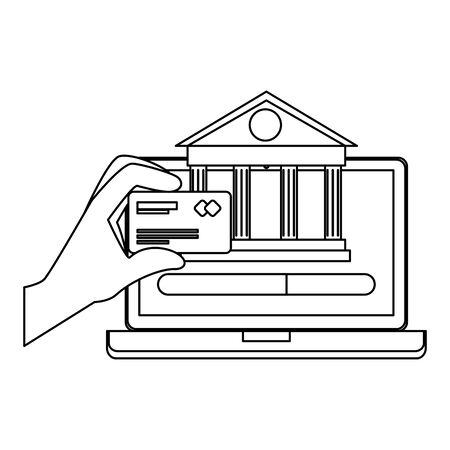laptop with bank building and credit card vector illustration design