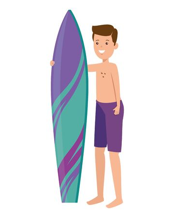 young man with swimsuit and surfboard vector illustration design