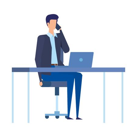 elegant businessman calling with smartphone in the office vector illustration design