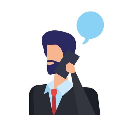 Empresario llamando con smartphone y diseño de ilustraciones vectoriales de burbujas de discurso Ilustración de vector