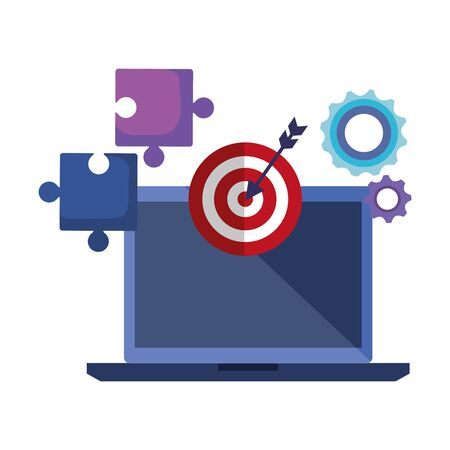 laptop with target arrow success and business icons vector illustration design