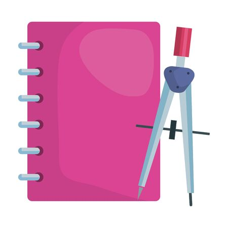 note book with compass supplies school vector illustration design
