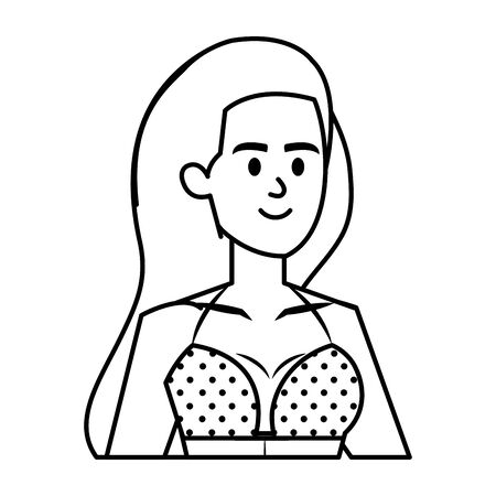 beautiful girl with swimsut avatar character vector illustration design