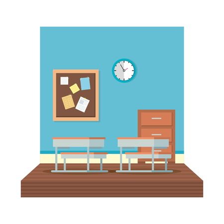 school classroom with watch clock scene vector illustration design Banque d'images - 127935805