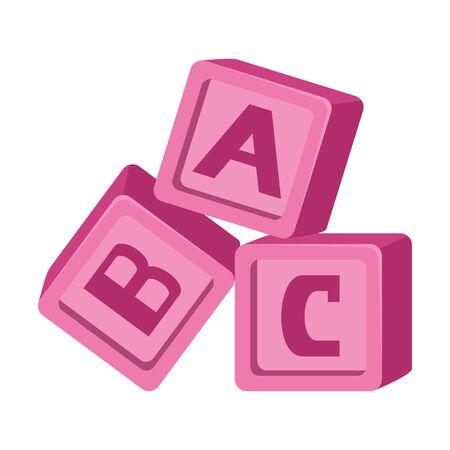 Bloques de alfabeto juguetes bebé iconos diseño ilustración vectorial Ilustración de vector