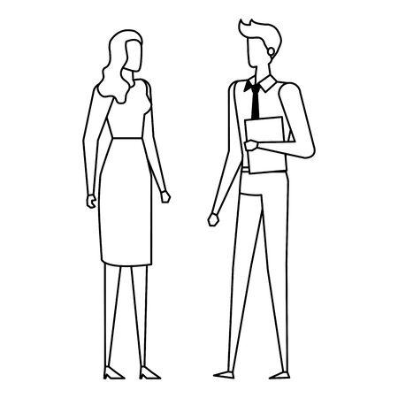 elegant young business couple avatars characters vector illustration design Ilustração