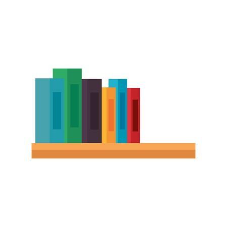 shelf wooden with pile text books library icons vector illustration design