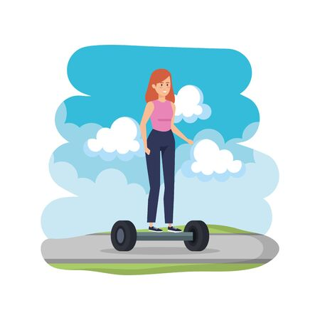 young woman in hoverboard electric on road vector illustration design