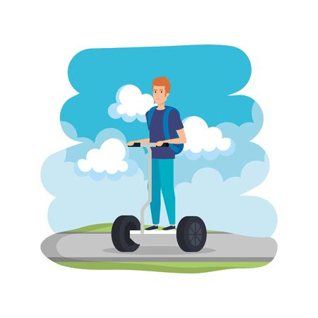 young man in folding e-scooter on road vector illustration design