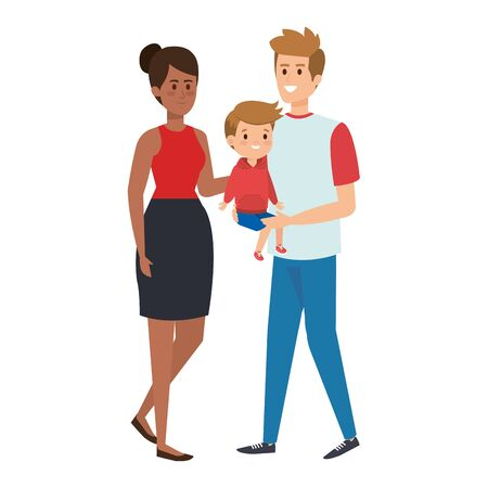 interracial parents couple with son characters vector illustration design Stock Vector - 127976918