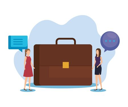 businesswomen with briefcase and chat bubble employee vector illustration Иллюстрация