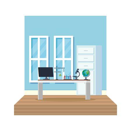 laboratory office workplace scene vector illustration design