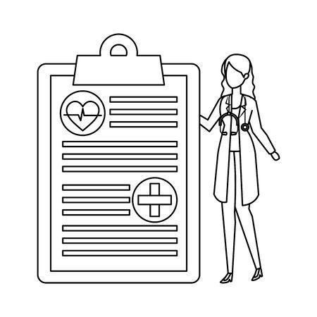 female doctor with stethoscope and medical order vector illustration design Иллюстрация