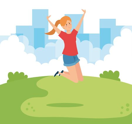 happy woman jumping with blouse and short vector illustration Stock Illustratie