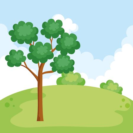 natural park with trees and mountain recreation vector illustration Ilustrace